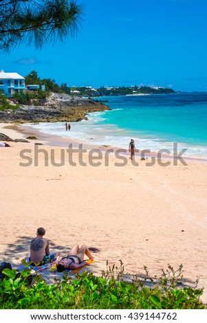 ST.GEORGES, BERMUDA, MAY 27 - Peaceful secluded beaches all along the North shore near St. George's Island on May 27 2016 in Bermuda. - stock photo