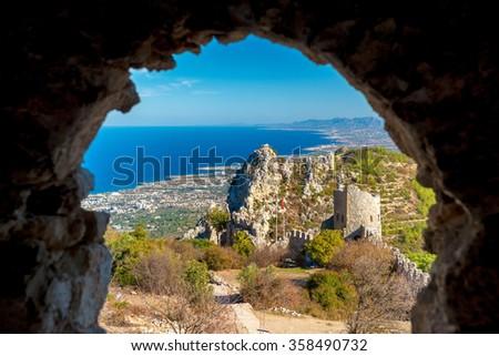 St. Hilarion castle. Kyrenia District, Cyprus. - stock photo