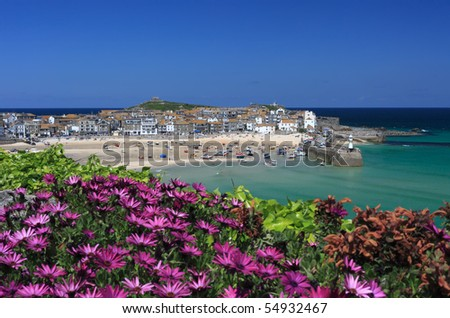 St Ives from the Malakoff lookout in summer, Cornwall, England. - stock photo