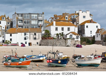 St Ives harbor at low tide - stock photo
