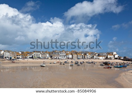 St Ives harbor in Cornwall at low tide - stock photo