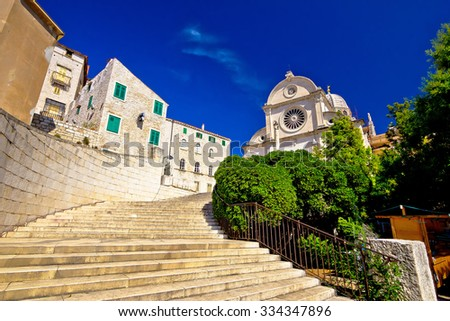 St James cathedral in Sibenik, UNESCO world heritage site in Croatia - stock photo