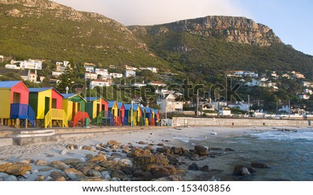 St James colourful beach huts � Cape Town, South Africa - stock photo
