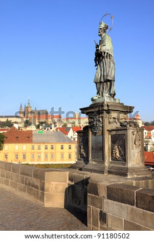St. John of Nepomuk Statue on Charles bridge of Prague, Czech republic