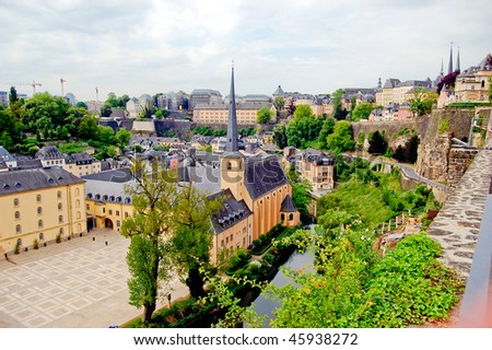 St. John's Church in Luxembourg on sunny day, green side - stock photo