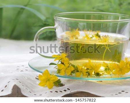St John's wort tea - stock photo