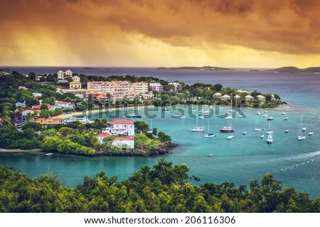 St. John, US Virgin Island at Cruz Bay. - stock photo