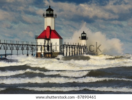 St. Joseph Lighthouse Storm, St. Joseph Michigan, USA - stock photo