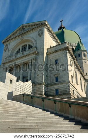 St.Joseph Oratory in Montreal, Canada; clear blue sky - stock photo