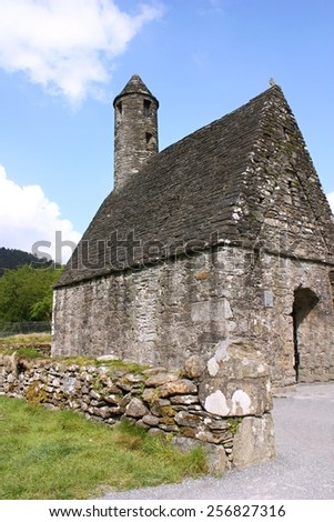 St. Kevin's Monastery, Glendalough, County Wicklow, Ireland - stock photo