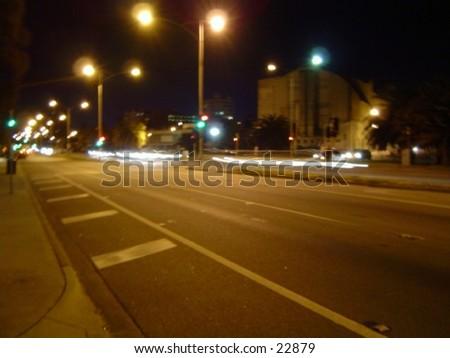 St. Kilda Beach road.... night rush. Australia Melbourne - stock photo