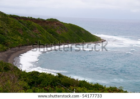 St. Kitts Black Sand Beach - stock photo