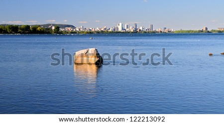 St Lawrence river and Montreal skyline, Quebec, Canada - stock photo
