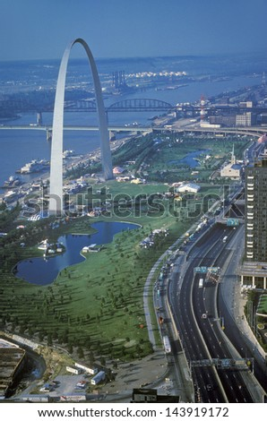 St. Louis Arch and skyline, MO - stock photo