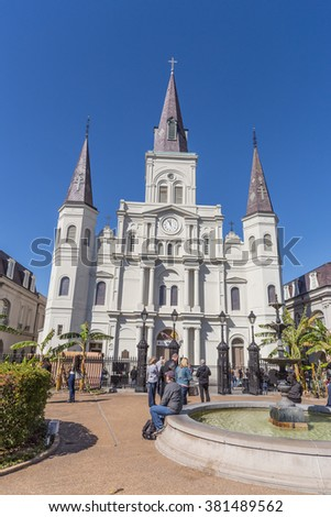 St. Louis Cathedral and Jackson Square in French Quarter, New Orleans, Louisiana - stock photo