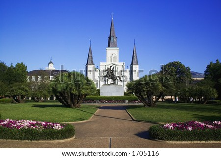 St. Louis Cathedral in Jackson Square New Orleans, Louisiana, United States - stock photo