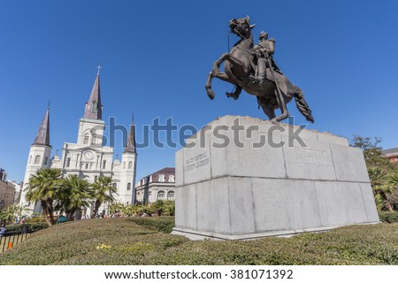 St. Louis Cathedral, Jackson Square and Monument in French Quarter, New Orleans, Louisiana - stock photo