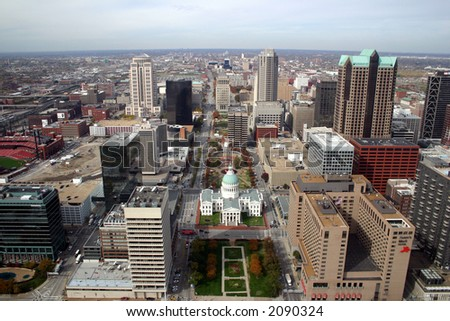 st. louis downtown aerial - stock photo
