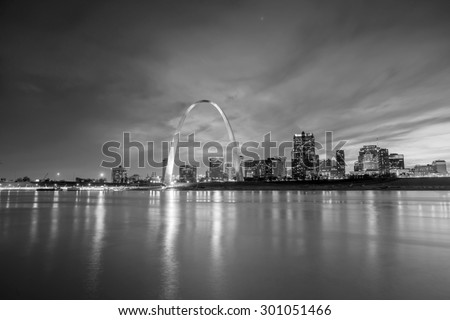 St. Louis downtown at twilight. - stock photo