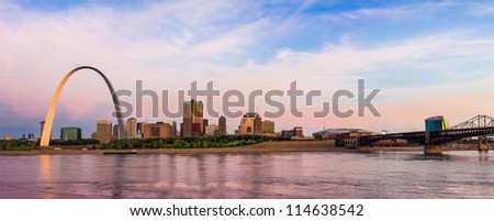 St. Louis from Arch to Eads Bridge - stock photo