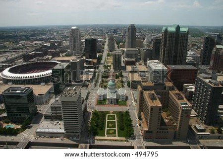 St. Louis from the Arch - stock photo