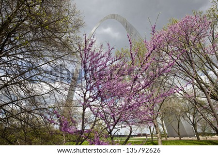 St. Louis Gateway Arch in the spring - stock photo