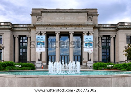 ST. LOUIS, MISSOURI - MAY 20, 2013: Missouri History Museum. The Jefferson Memorial Building, built in 1913 with profits from the Louisiana Purchase Exposition, is the home of the museum. - stock photo