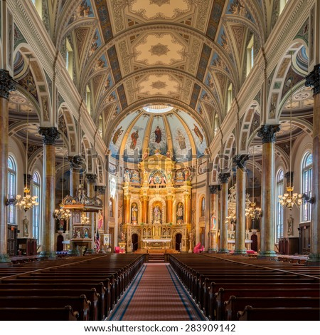 ST. LOUIS, MISSOURI - MAY 28: Shrine of St. Joseph on N 11th Street on May 28, 2015 in St. Louis, Missouri - stock photo