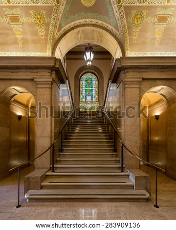 ST. LOUIS, MISSOURI - MAY 28: Staircase in the St. Louis Public Library on Olive Street on May 28, 2015 in St.  Louis, Missouri