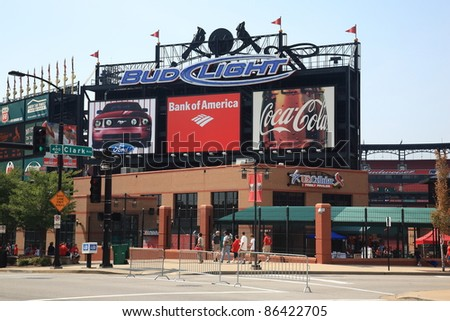 ST. LOUIS - SEPTEMBER 18: Busch Stadium before a Cardinals Major League baseball game on September 18, 2010 in St. Louis, MO. Opened in 2006, it seats 43,975 fans and cost $365 million. - stock photo
