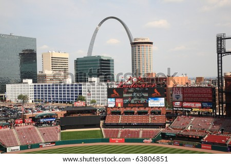 ST. LOUIS - SEPTEMBER 18: St. Louis skyline, including the Gateway Arch, is seen from Busch Stadium before a game between the Cardinals and Padres, on September 18, 2010 in St. Louis. - stock photo