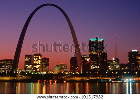 St. Louis skyline and Arch at night, St. Louis, Missouri - stock photo
