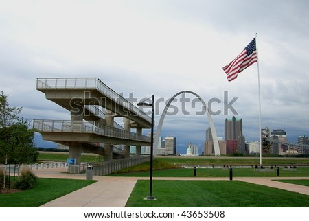 St. Louis Skyline - Observation deck at Malcolm W. Martin Memorial Park - stock photo