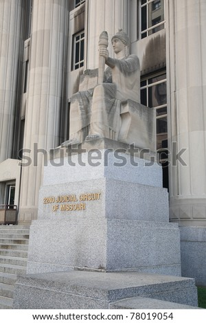 St. Louis statue at Mel Carnahan Courthouse  - Constitution and torch statue at the former Federal Courthouse in St. Louis, Missouri. The building was constructed in 1935 with allegorical figures.