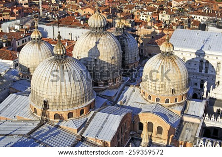 St. Marco cathedral, Roofs of Venice, Italy - UNESCO World Heritage Site - stock photo