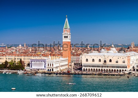 St Mark Square as seen from Grand Canal, Venice - Italy. - stock photo