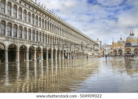 St. Marks Square (Piazza San Marco) during flood (acqua alta) in Venice, Italy
