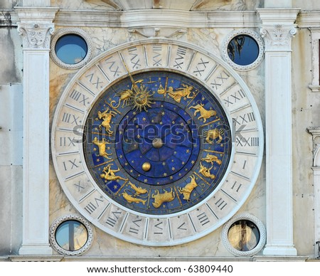 St Marks 16th century clock tower in Venice Italy, to be seen by the ships in the harbor, showed the time, phase of the moon, and dominant sign of the zodiac