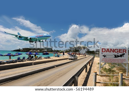 ST MARTIN, ANTILLES - DEC. 15: Corsairfly enhances its frequency towards St Martin up to 3 flights per week in Dec. 15 2008 in St Martin. - stock photo