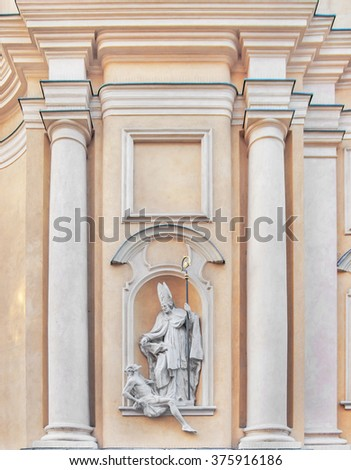 St Martin's Church architectural details in Warsaw Old Town Poland - stock photo