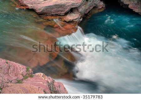 St. Mary Falls in Glacier National Park, Montana - stock photo