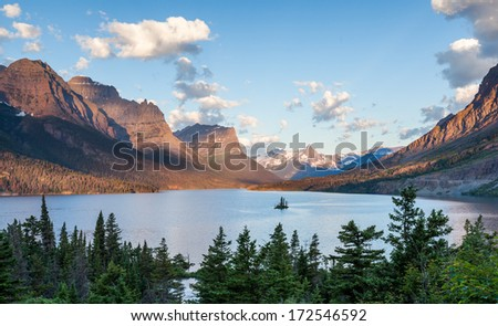 St. Mary Lake and wild goose island in Glacier national park - stock photo