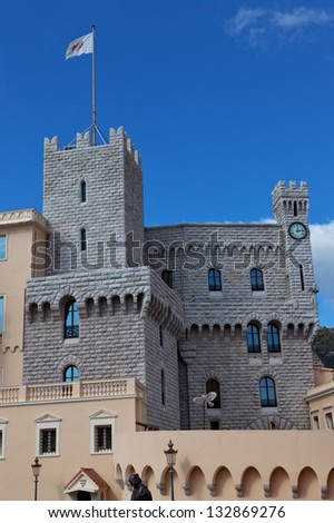 St Mary's and clock Tower of Prince's Palace of Monaco - stock photo