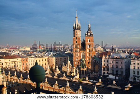 St. Mary's church and Sukiennice in Krakow - stock photo