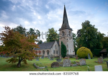 St Mary's Church with graveyard in Cotswolds, Lower Slaughter, UK