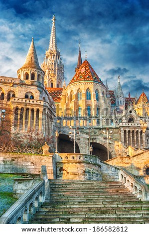 St. Matthias Church and Fisherman's bastion in Budapest, Hungary. - stock photo