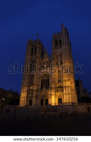 St. Michael and Gudula Cathedral, Brussels, Belgium illuminated at night  - stock photo