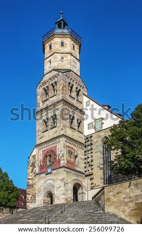 St Michael Church. Schwabisch Hall is historical town in the German state of Baden-Wurttemberg and located in the valley of the river Kocher - stock photo