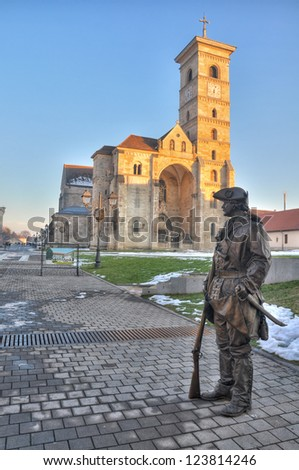 St. Michael's Cathedral is the oldest and the longest cathedral in Romania.It is located in Alba Iulia fortress. - stock photo