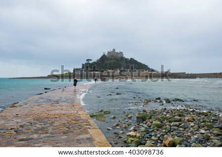 St Michael's Mount in Cornwall the Cornish counterpart of Mont Saint-Michel in Normandy - stock photo